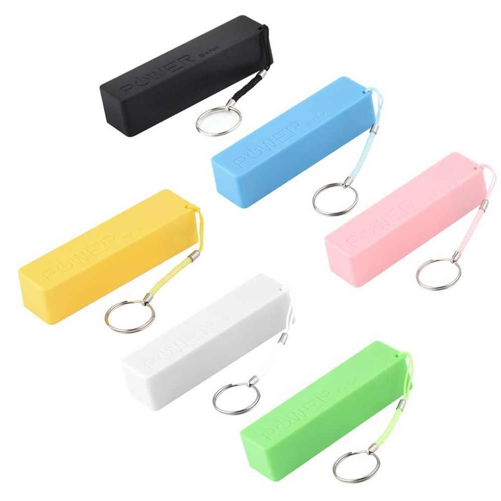 Caliente Perfume cuadrado AC/DC adaptadores caja de alimentación móvil USB 18650 batería cubierta llavero para iPhone para samsung MP3