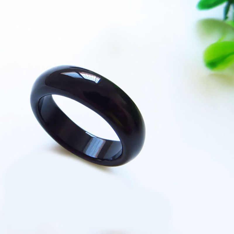 ธรรมชาติ Agate Chalcedony แหวนสีขาวสีดำสีชมพูหวานหญิงหยกแหวนเครื่องประดับ Index Finger ง่าย