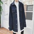 Estilo europeu Homens Street Wear Denim Casaco Jaqueta de Alta Qualidade Desfile de Moda de Super Solto Jaqueta De Manga Longa