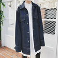European Style Men High Quality Street Wear Denim Jacket Coat Runway Show Fashion Super Loose Long Sleeve Jacket