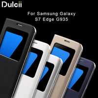 For Galaxy S 7 Edge Leather Cases Flip View Leather Cover Case For Samsung Galaxy S7