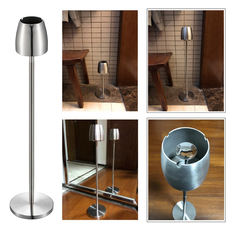 Image 5 - Stainless Steel Telescopic Ashtray Floor Standing Ash Tray Ashtray Portable Metal Large Windproof Ashtray Smoking AccessoriesAshtrays   -