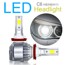 2pcs H8 H9 H11 C6 10800LM  6000K 120W COB LED Car Headlight Kit Hi or Lo Light Bulbs car accessories for Cars Vehicle Auto