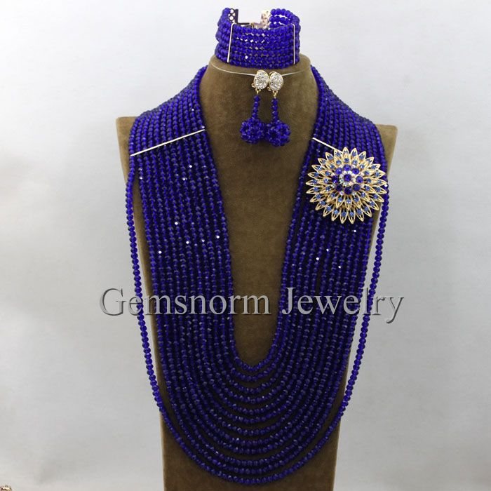 Online Shop 2017 Royal Blue Long African Beads Jewelry Set Latest ...