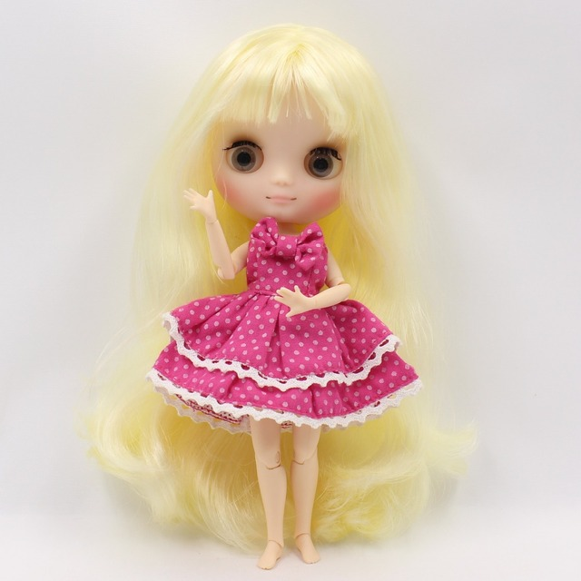 Joint body Middie blyth doll matte face gray eyes light yellow hair with bangs 20cm with gestures free shipping No.288