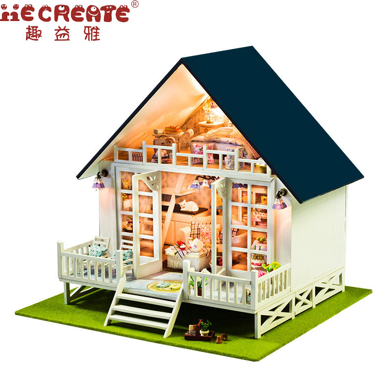 DIY Miniature Wooden Doll House Furniture Kits Toys Handmade Craft Miniature Model Kit Dollhouse Gift Toys For Children d030 diy mini villa model large wooden doll house miniature furniture 3d wooden puzzle building model
