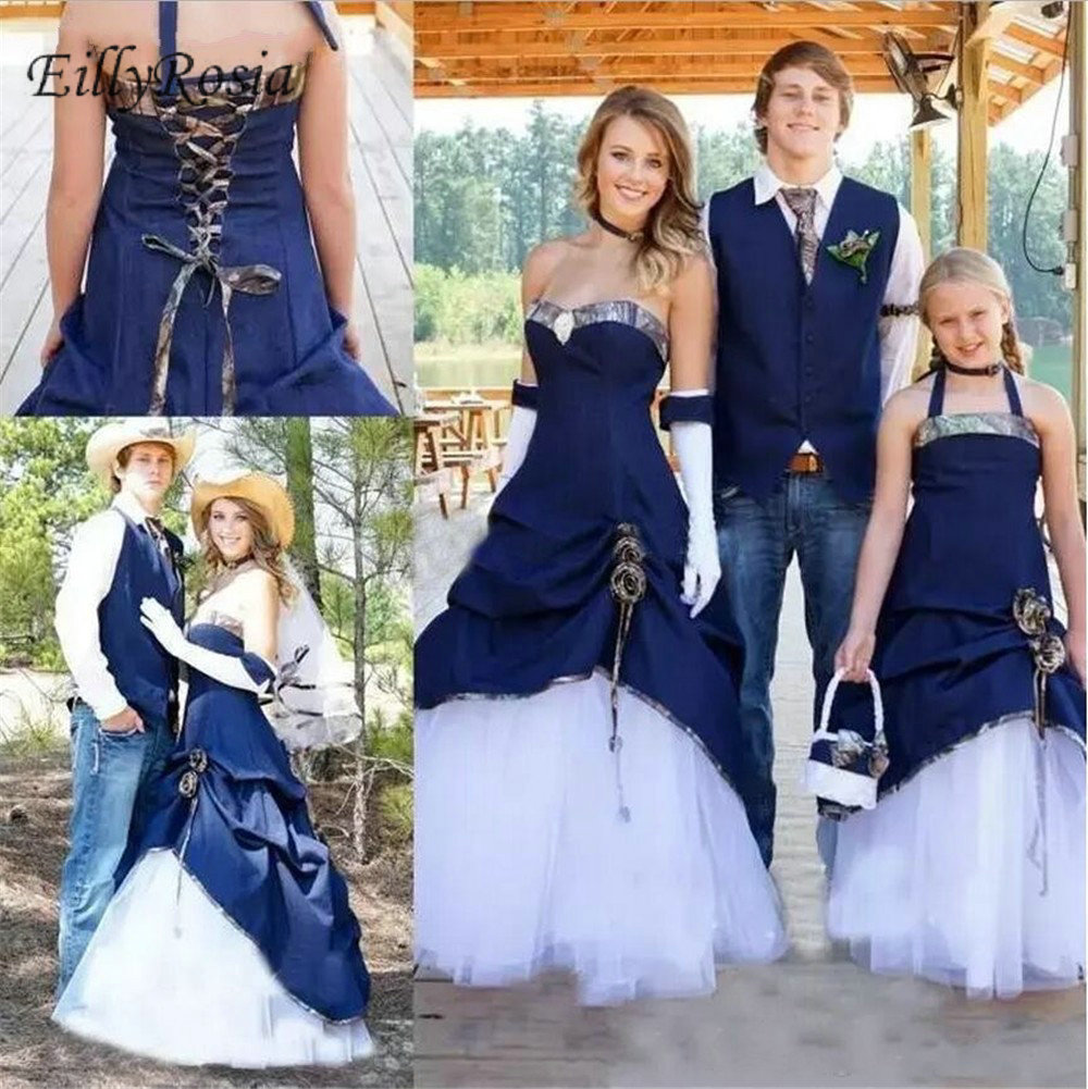Us 169 5 25 Off Unique Design Camo Wedding Dresses Navy Blue Satin White Tulle Trumpet Cowboy Country Style Bridal Gowns Bride Robe Noiva 2019 In