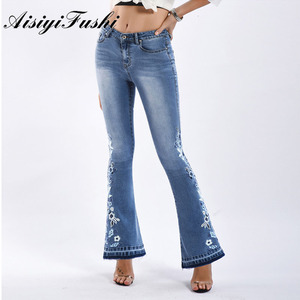 Image 5 - AISIYIFUSHI American Blue Women Bell Bottom Jeans Embroider Floral Push Up Denim Pants for Women Jeans Boot Cut Flared Jeans 4XL
