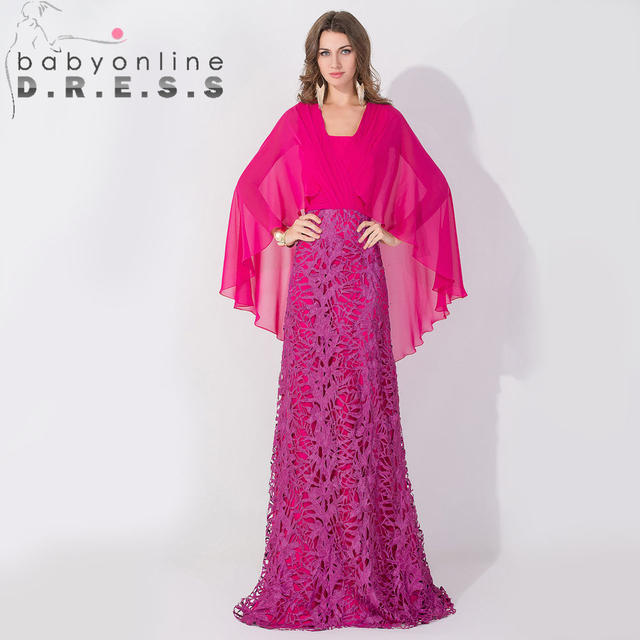 Real Rose Red Unique Lace Batwing Shawl Long Sleeve Prom Dresses ...