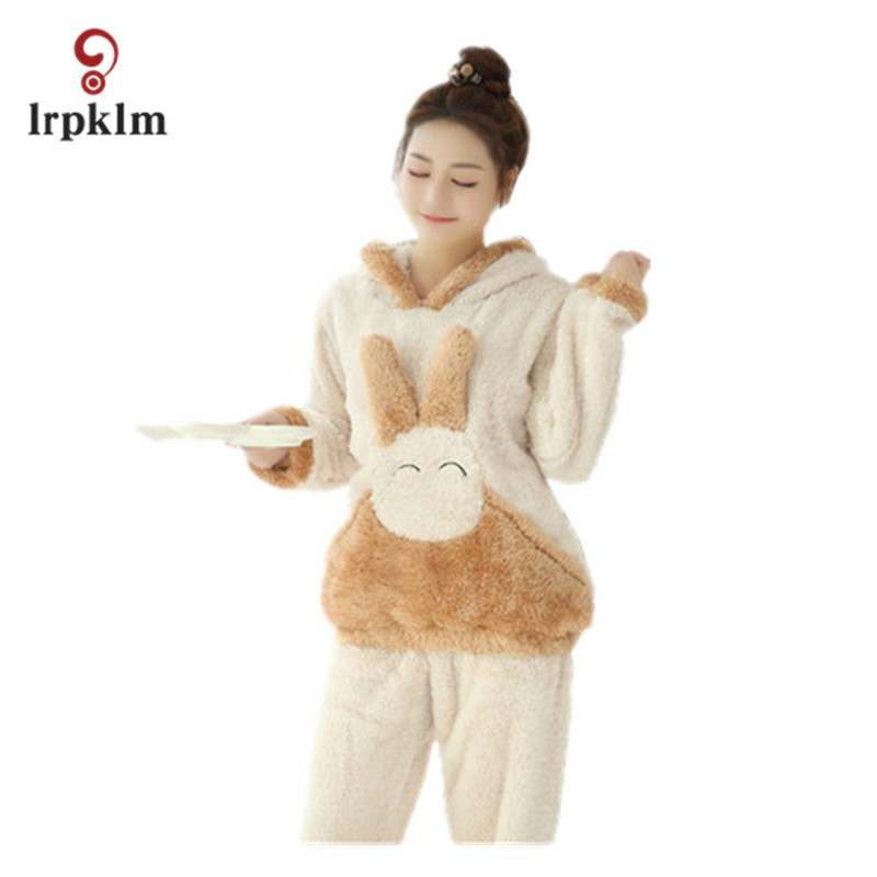 2018 High-Grade Winter Cute Lady Cartoon Pajamas Women Thick Comfortable Warm Wool Coral Fleece Home Service Winter Suit JW023