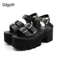 Gdgydh New Summer 2018 Fashion Women Sandals High Heels Ankle Strap Buckle Platform Shoes Open Toe