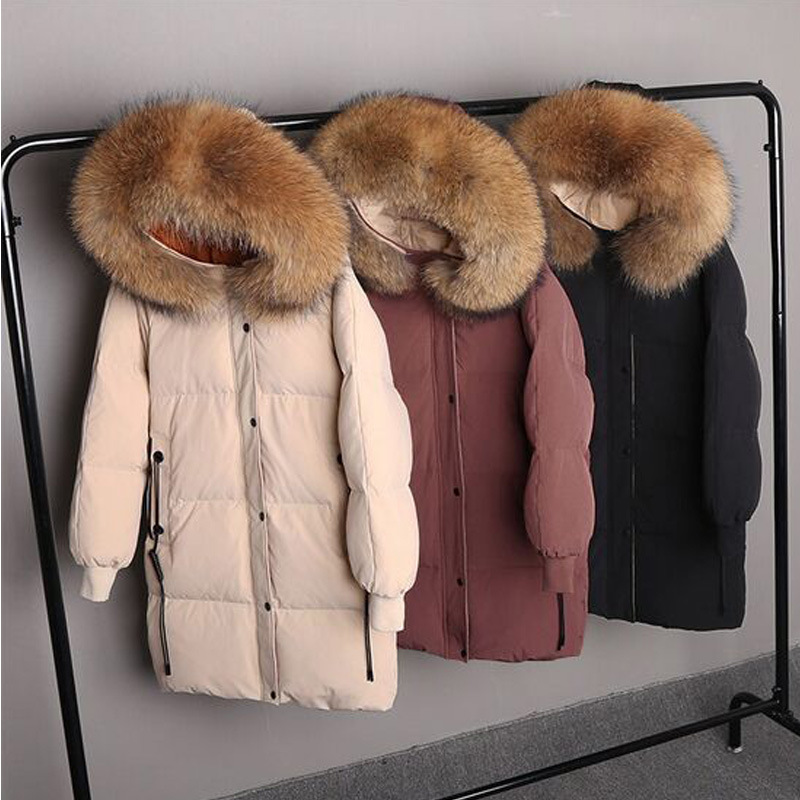 Winter Jacket Women Large Real Raccoon Fur Collar White Duck Down Long Parkas Coat Female Thick Hooded Pockets Snow Outwear