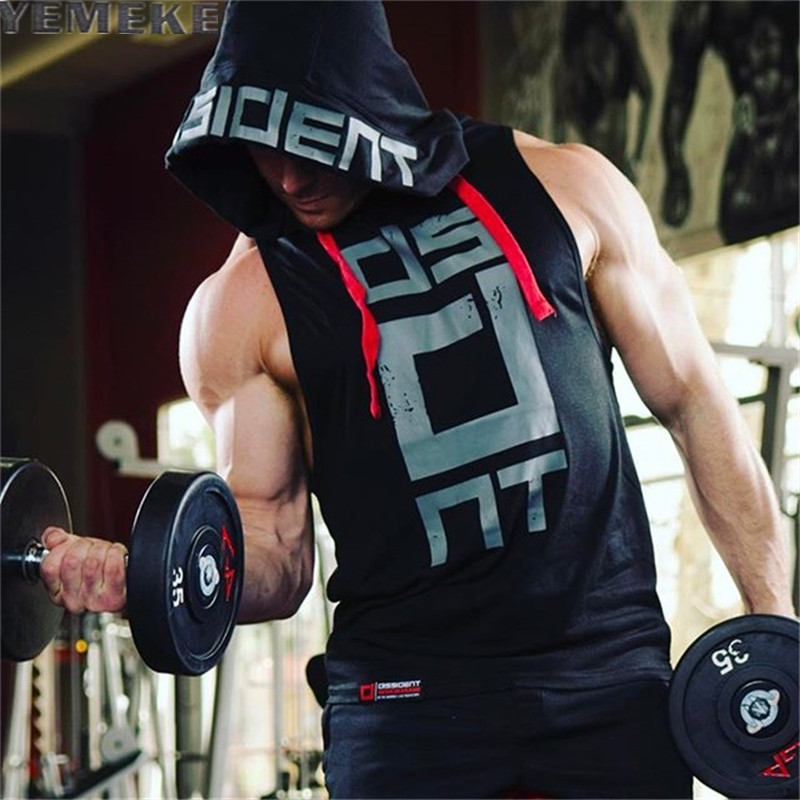 YEMEKE Cotton Tank Tops Hoodie Fitness Mens Bodybuilding Workout Tee fashion Muscle Male Activewear Red black white
