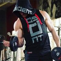 Yemeke algodón Camisetas de tirantes con capucha fitness mens bodybuilding entrenamiento tamaño CrossFit muscle hombre Activewear Rojo Negro Blanco