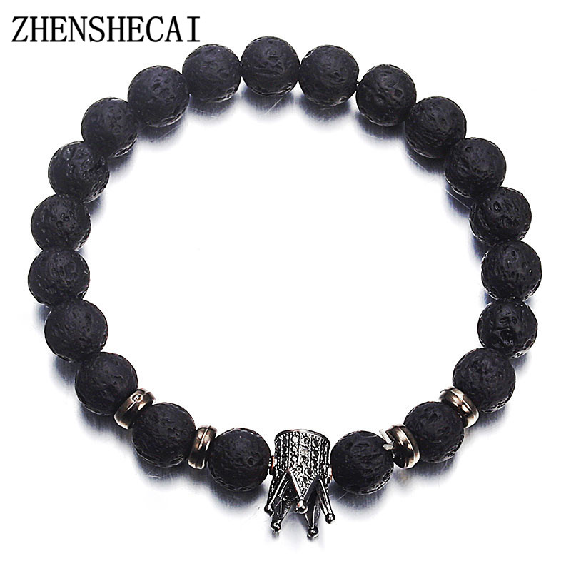 2018 Hot Trendy Stone Imperial Crown And Helmet Charm Bracelet For Men Or Women Black color Bracelet Jewelry Wholesale ns63