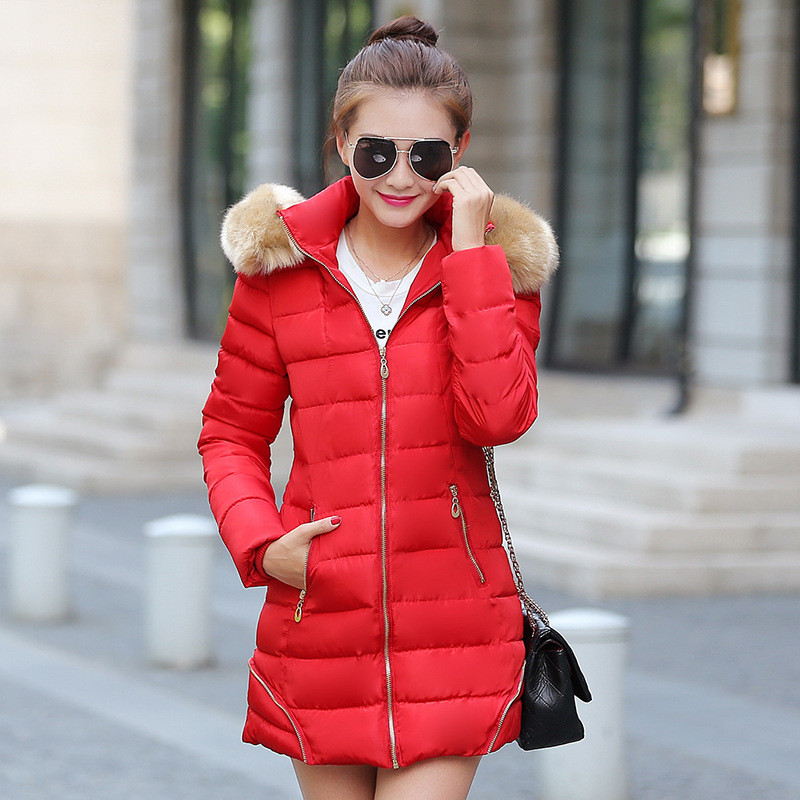 Cotton Padded Jacket Long parka,fur Collar Hooded Thick Winter coat,female outerwear,Nice New Women Coat winter,parkas TT1482 2015 winter jacket women cotton padded jacket women fur collar ladies winter coat thickening outerwear long denim parkas h4451