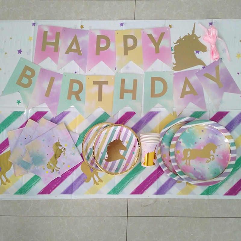Decoração Do Partido de Aniversário Dos Miúdos Fontes Do Partido Unicórnio do Unicórnio do arco do Balão do Aniversário Do Chuveiro de Bebê 1st Feliz Decoração Do Aniversário