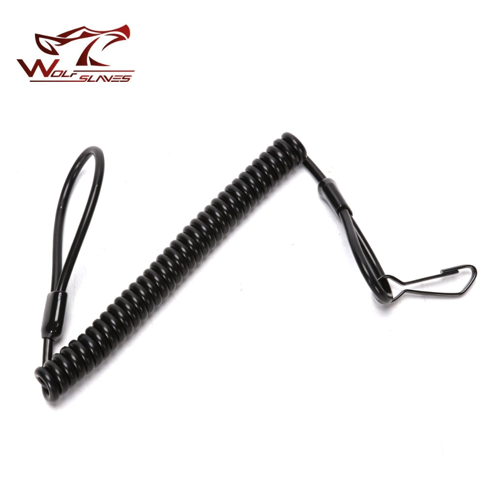 Tactical Pistol Handgun Elastic Spring Lanyard Sling with Metal Buckle Duty Belt Molle Military Combat Single Point Gun Sling