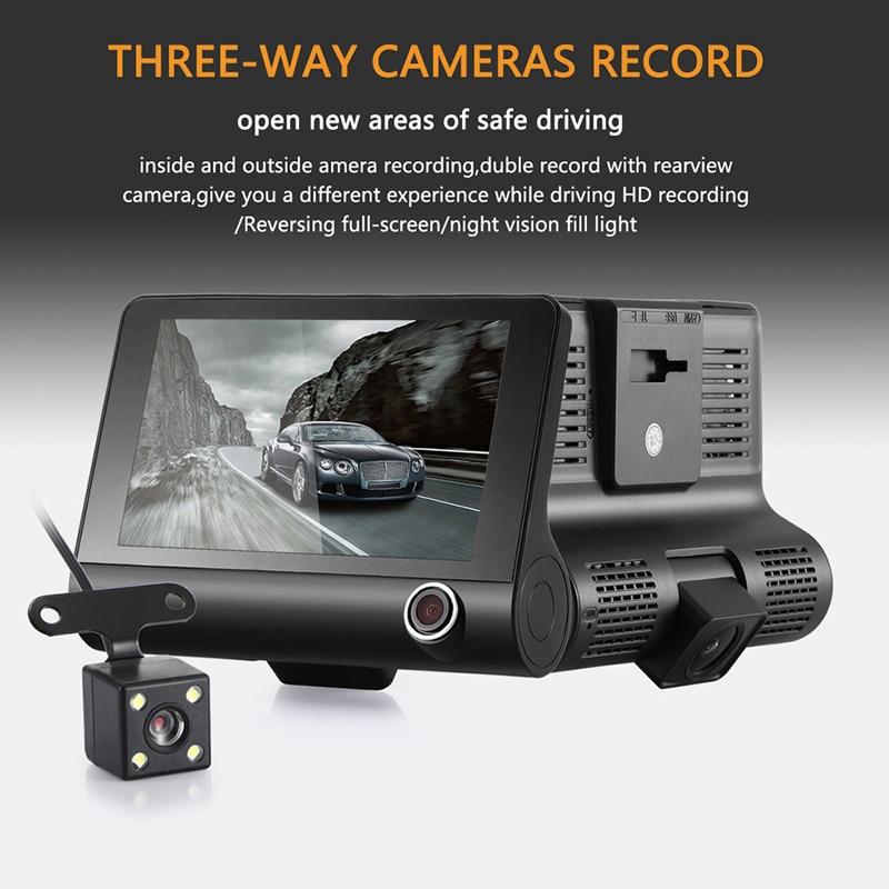 4.0 3 Way Car DVR Dash Camera Video Recorder Rear View Auto Registrator With Two Cameras Dash Cam DVRS Dual Lens Blackbox