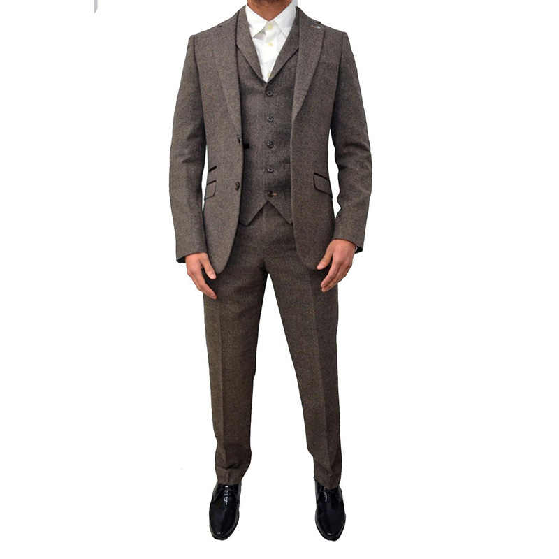 efaf80965c8f4 ... Коричневый серый твидовый мужской костюм классические зимние мужские  свадебные костюмы 3 шт обтягивающий официальный костюм для ...