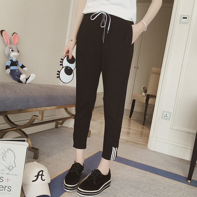 2017 spring maternity dress black striped casual pants care belly Korean casual wear nine points Harlan pants