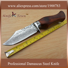 DT032 damascus steel blade knife rosewood handle camping knife hunting knife army knife
