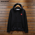 Spring Autumn Brand Clothing Play Sweatshirt Plus Size Loose Red Heart Embroidery PLAY Hooded Hoodie Men Women Pullover C412