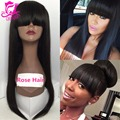Brazilian Full Lace Human Hair Wigs For Black Women Glueless Silky Straight Lace Front Human Hair Wigs With Bangs Free Shipping