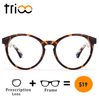 754f740065 TRIOO Optical Eye Glasses Women Prescription Computer Eyeglasses Retro  Round Frames Clear Myopia Glasses Female Graduate