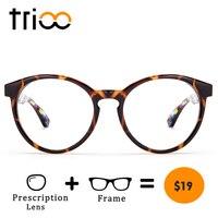 Trioo оптический глаз Очки Для женщин рецепта Очки Ретро Круглый Черепаха кадров прозрачные линзы степени чтения очки