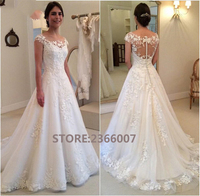 Lace A line Flowers Tulle Elegant Long Formal Wedding Dresses 2018 Fashion Wedding Gowns Custom Made Plus Size Bridal Dress