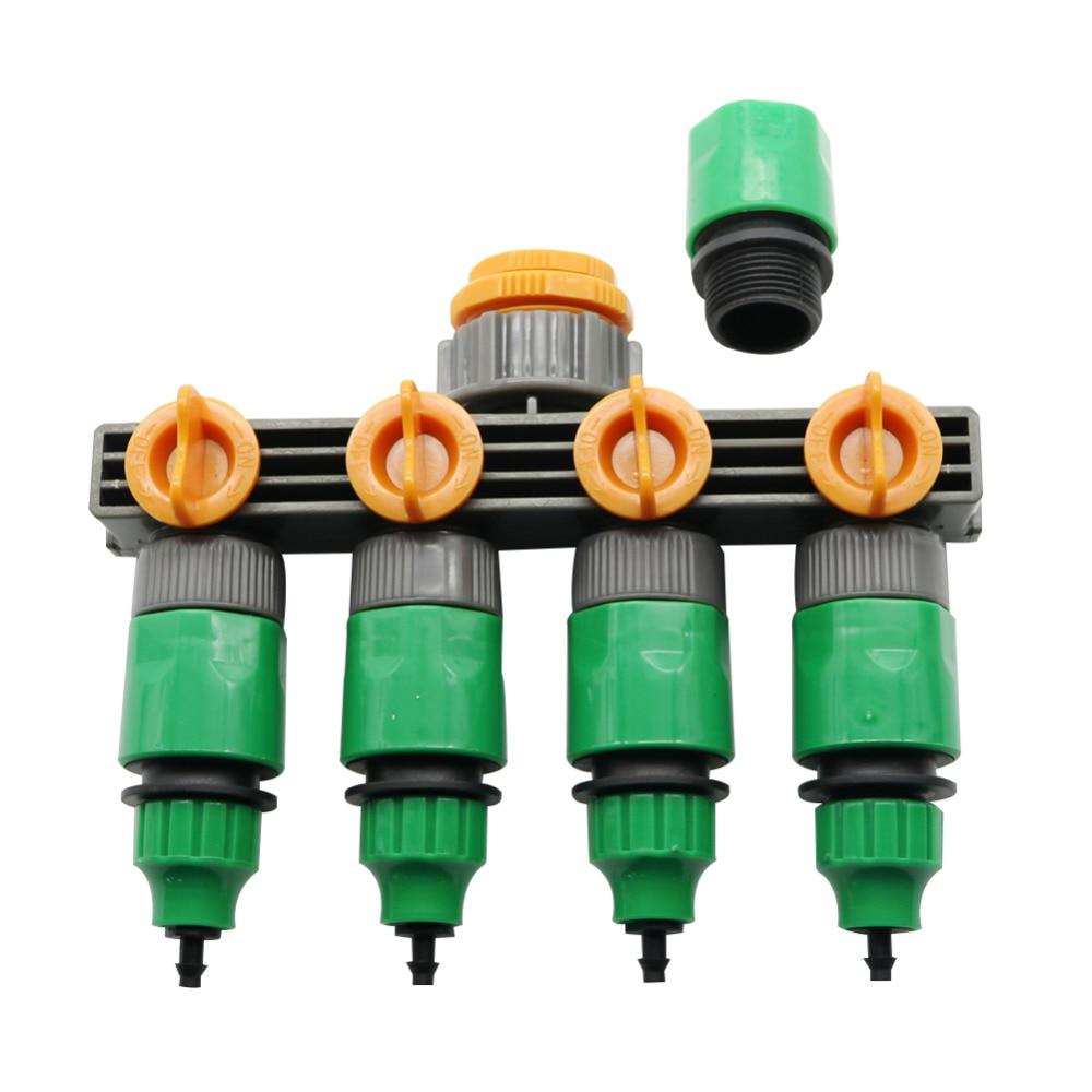 4 Way Garden Water Tap Adaptor Hose Splitter Quick Connectors Garden Watering Irrigation Supplies 1/4 or 3/8 Inch Hose Connector