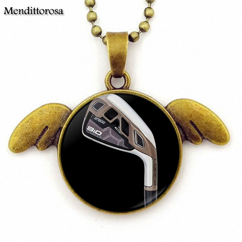Golf Player New Arrival Glass Necklace Statement Women Long Chain Round Bronze Angel Wings Pendant Necklace For Women Choker
