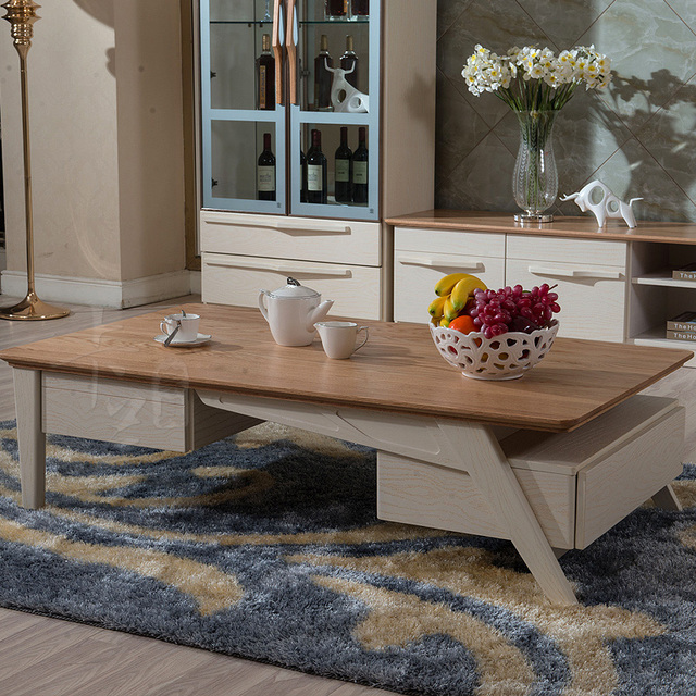 Multifunctional solid wood furniture oak coffee table storage ...