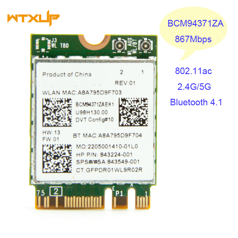 US $12 8 |Broadcom BCM94371ZAE BCM94371 802 11 AC NGFF M2 867Mbps WiFi &  Bluetooth 4 1 Combo SPS 843549 001 Wireless network card-in Network Cards