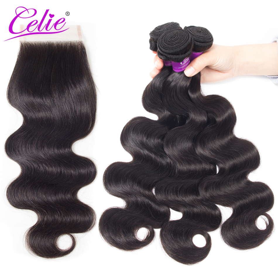 Celie Hair Body Wave Peruvian Hair Bundles With Closure 3 Bundles Remy Hair Weaves With Closure