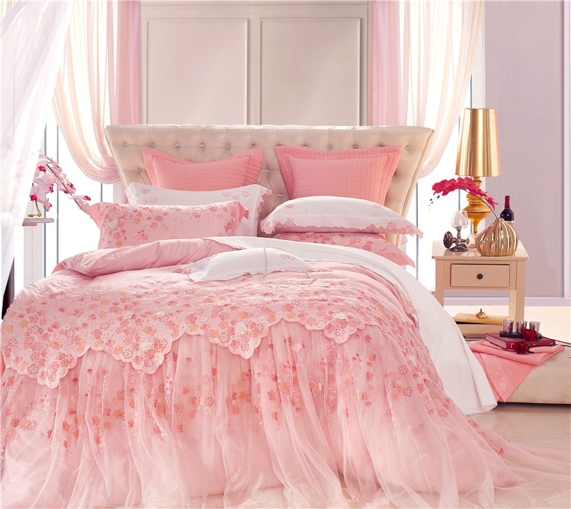 Pink Luxury Oriental Lace Wedding Princess Beddings set Queen King size Bed set Bedspread sheet set Duvet Cover set PillowcasePink Luxury Oriental Lace Wedding Princess Beddings set Queen King size Bed set Bedspread sheet set Duvet Cover set Pillowcase