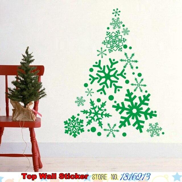 large creative christmas tree snowflake wall sticker for xmas tree christmas wall art sticker wall decal transfers