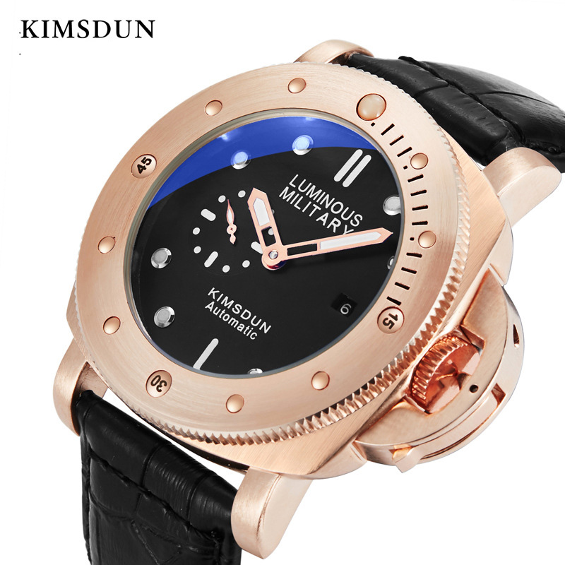 KIMSDUN Mechanical Watch Men automatic self wind rose gold watches luxury 3Bar Water Resistant Buckle reojes