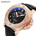 KIMSDUN механические мужские часы с автоматическим заводом, часы из розового золота, роскошные 3 бар, водонепроницаемые, с пряжкой, reojes de hombre, но...