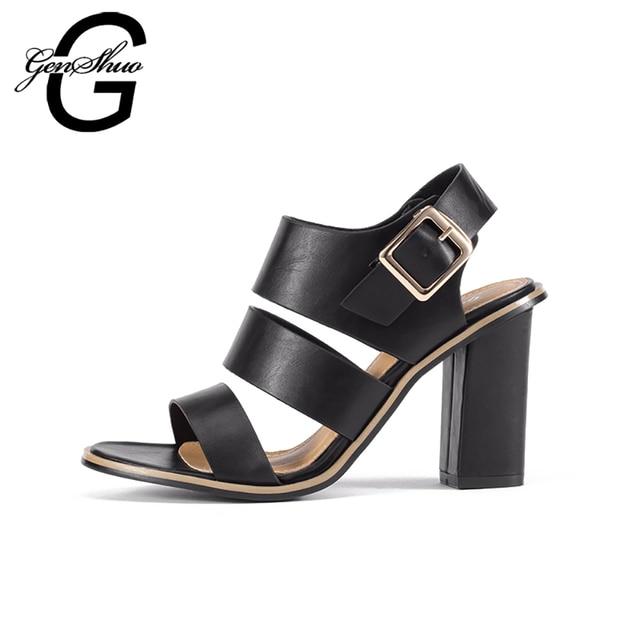 GENSHUO Women Sandals Gladiator Black Buckle Strap Sandals for Women Chunky Heels Summer Shoes Ladies Block Heel White Sandals