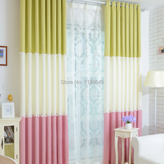 2015 Hot Sales Linen Three Color Half Blackout Curtain Curtains Pink Green American For