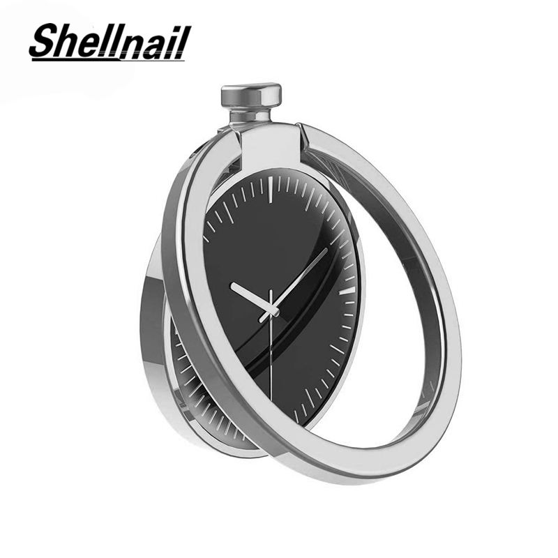 SHELLNAIL Clock Phone GPS Finger Ring Holder For IPhone Anti-falling Grip Mount Phone Ring Metal Stands For Magnetic Car Holder