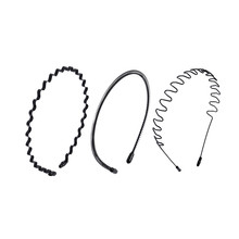 CHIMERA 3Pcs/set Metal Hairband for Men Simple Black Headband Waved Style Sports Head Hoop Women Unisex Fashion Hair Accessories