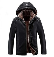 ФОТО 2017 new business leather coat winter leather jacket men's hoodies coat casual thickening, large size m-4xl