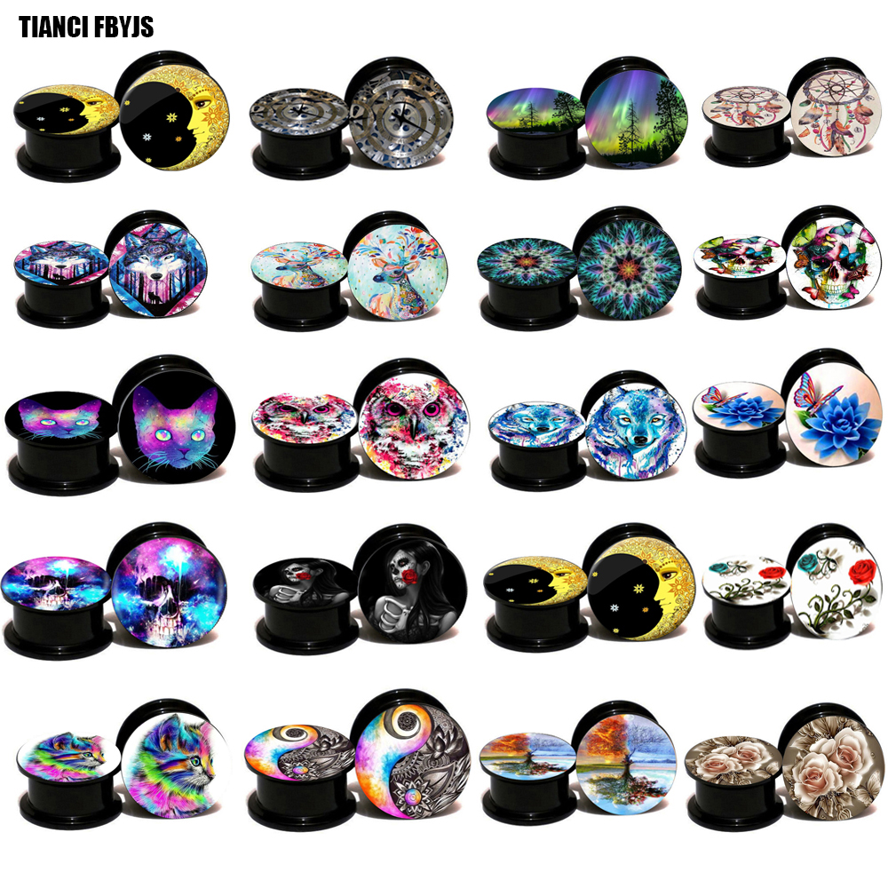 TIANCIFBYJS Acrylic Screw Ear Gauge Plug and Tunnel Ear Stretcher Expander 160pcs mix 10 logos 8