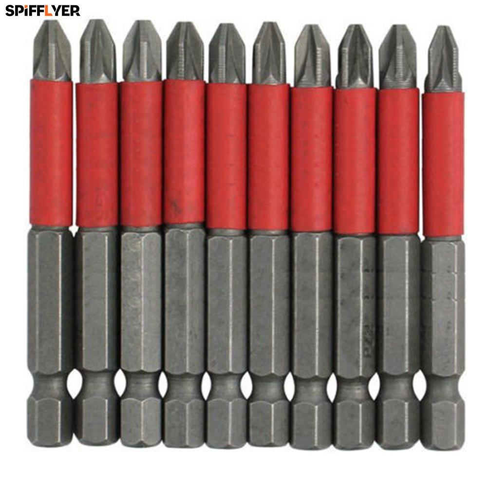 Nuevo Destornillador POZI 2 PZ 2 de 10 piezas Brocas hexagonales de 50 mm de largo Alcance antideslizante
