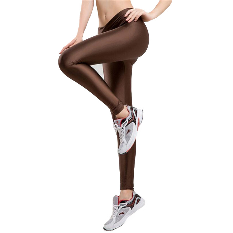 Workout Leggings Women V High Waist Sportswear Pants Fashion Jegging Elastic Strtched Shiny Candy Color Hot Sale Casual Legging