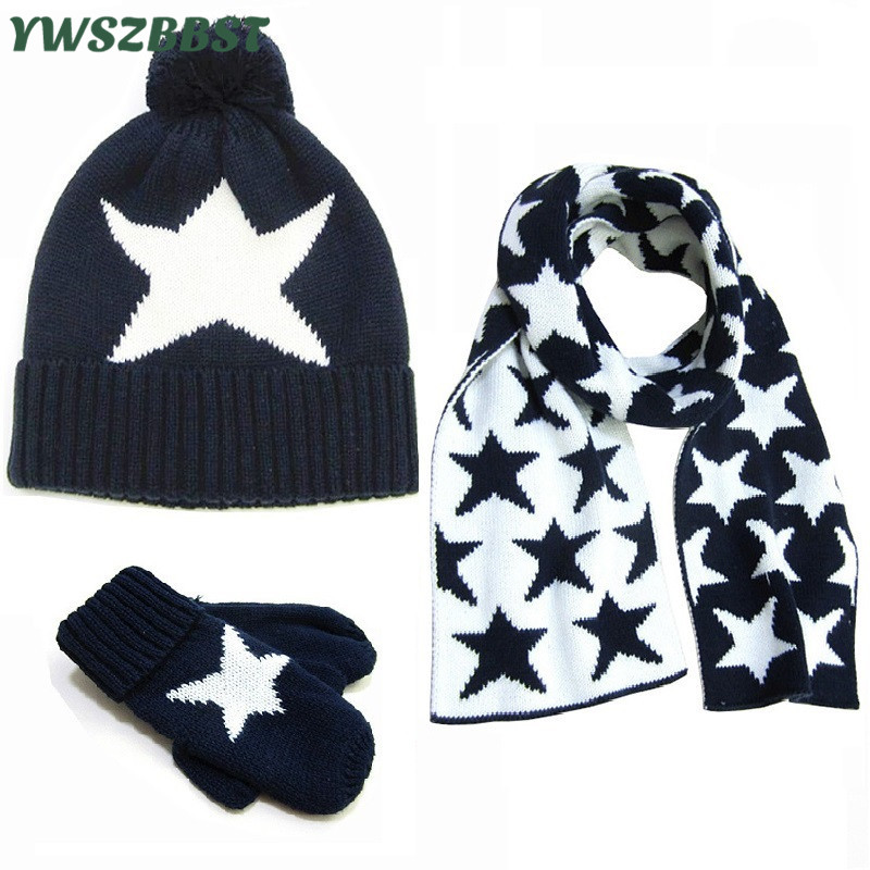 Fashion Star New Baby Hat Scarf Gloves set Crochet Warm Baby Hats for Girls Boys Winter Kids Caps Children Cap Scarf Gloves doubchow adults womens mens teenages kids boys girls cartoon animal hats cute brown bear plush winter warm cap with paws gloves page 7