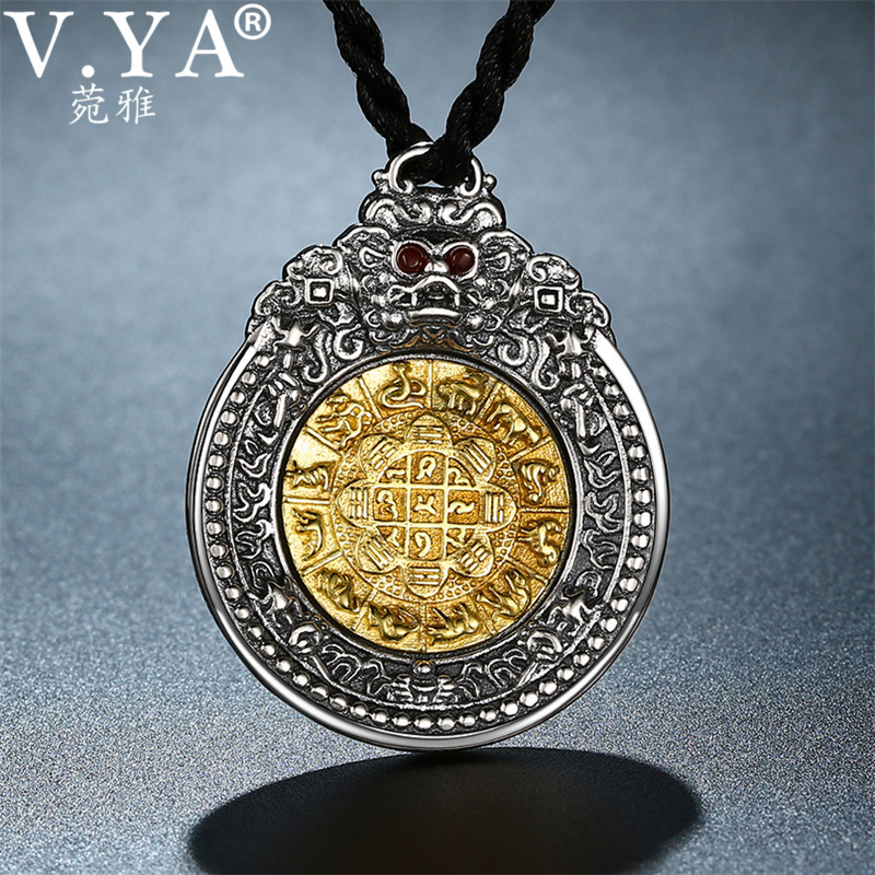 V YA 925 Thai Silver Pendants Necklaces for Men Male Solid 925 Sterling Silver Dragon Pendant